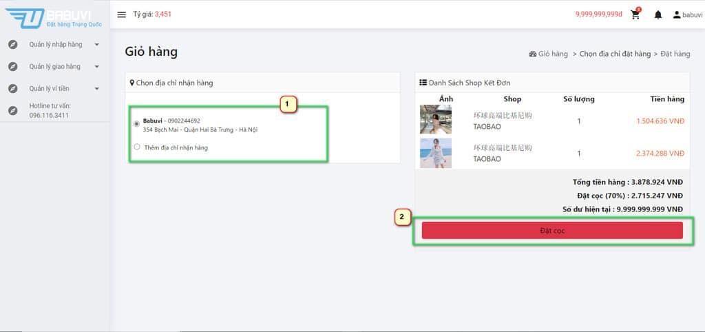 Tạo đơn Order taobao - giỏ hàng bước 2