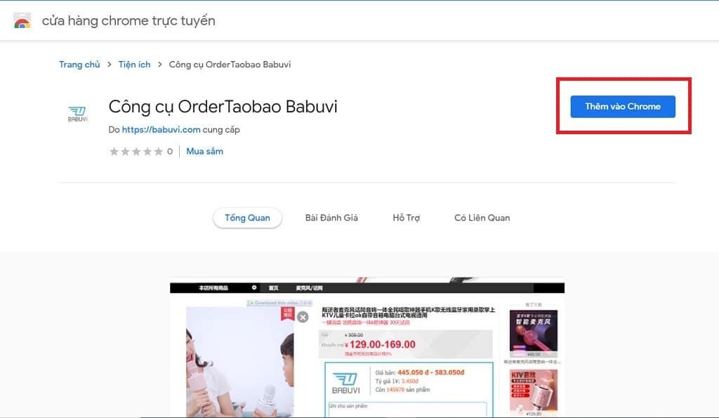 cài đặt extension order taobao babuvi
