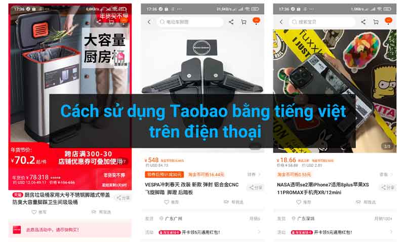 Cách sử dụng Taobao bằng tiếng việt trên điện thoại - ảnh bìa