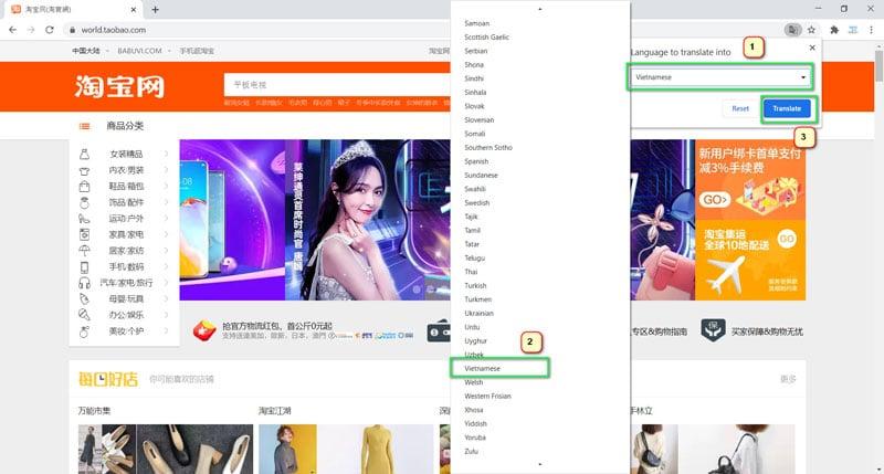 Taobao.com dịch sang tiếng việt trên chrome bước 4