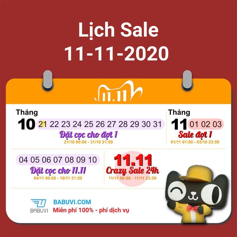 lịch sale 11/11 taobao mới nhất 2020