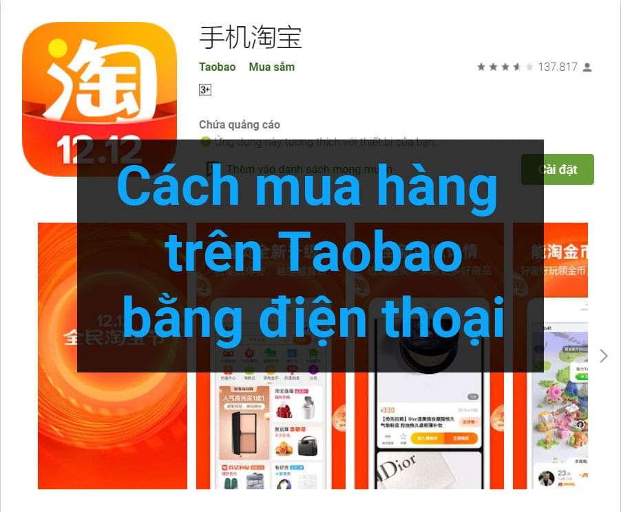 Cách mua hàng trên taobao bằng điện thoại ảnh dại diện