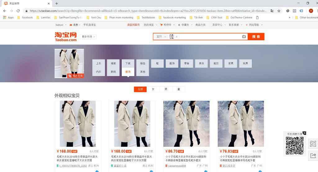 kết quả tìm kiếm trên taobao