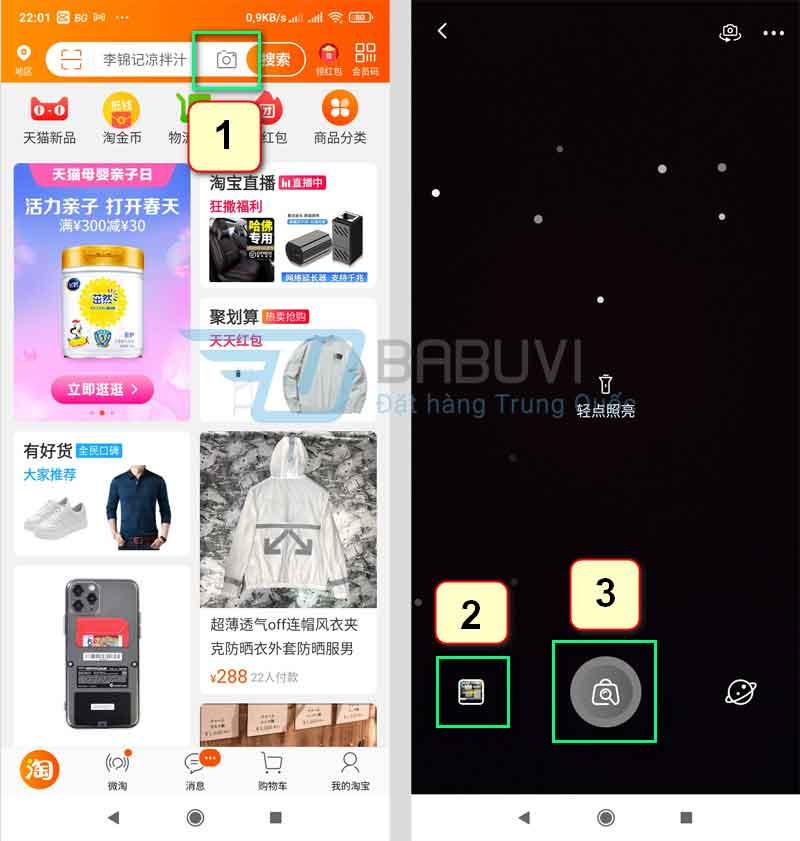 Tìm kiếm bằng hình ảnh trên taobao bằng điện thoại